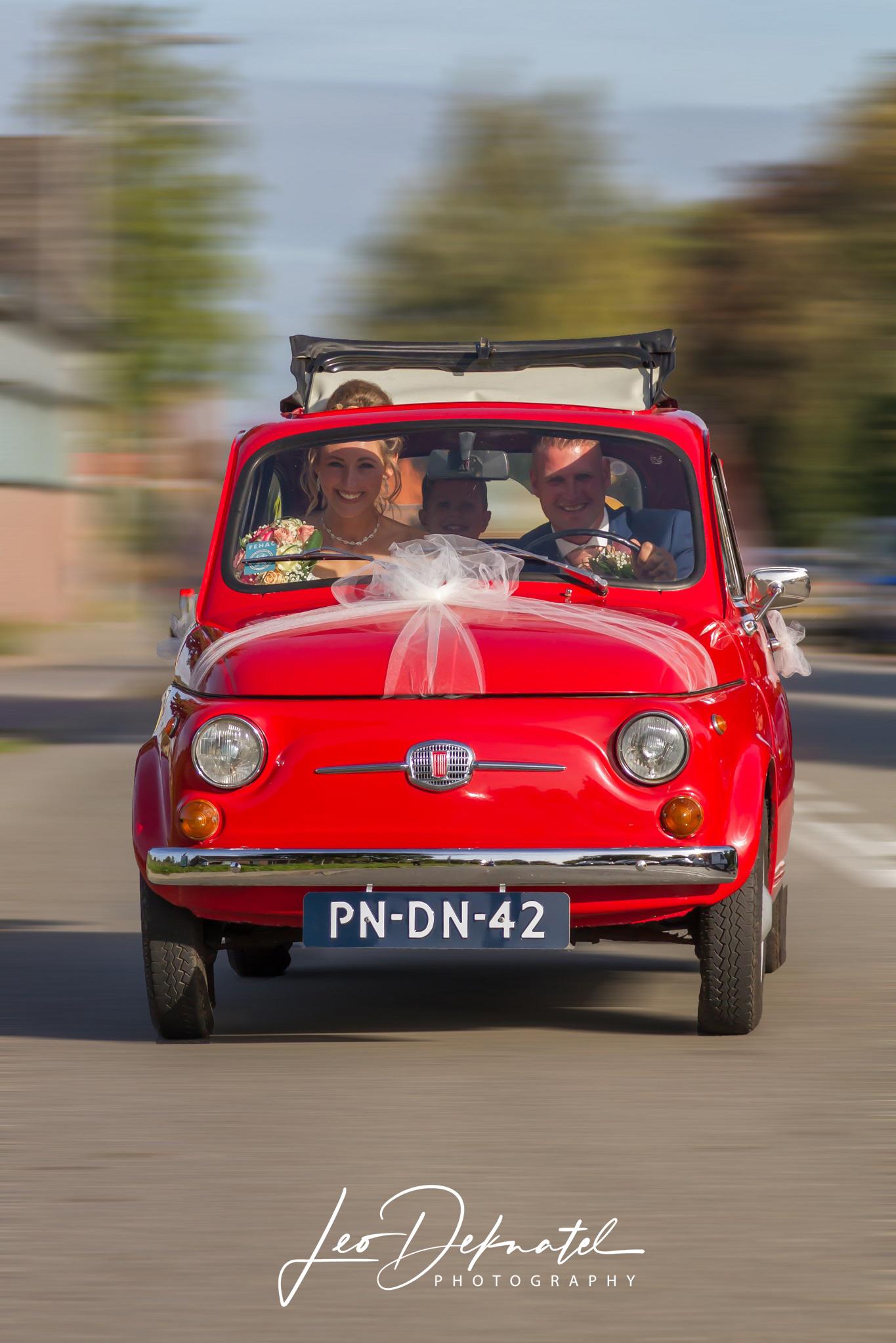 Bruidsreportage, Bruispaar, Geluk, Fiat 500, Fotografie,